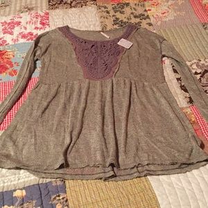 🆕Free People Gold Shimmery Tunic Size Small